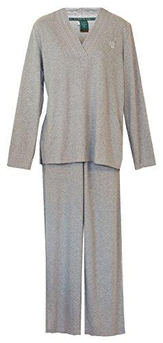 Ralph Lauren Cable V-Neck Pajamas PJ's (Medium, Heather Grey)
