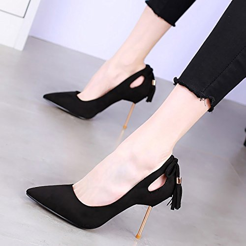 MDRW-Lady Elegant Arbeit Freizeit Feder 10 Cm Cm Cm Spitzen Schuhe Mit Hohen Absätzen Mit Einem Feinen Bug Sexy Hohl Alle - Übereinstimmen Quasten Schuhe Schwarz 9b49cd