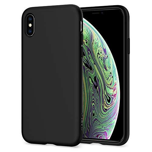 Spigen Liquid Crystal Designed for Apple iPhone Xs Case (2018) / Designed for Apple iPhone X Case (2017) - Matte Black Black Rubber Crystal Case