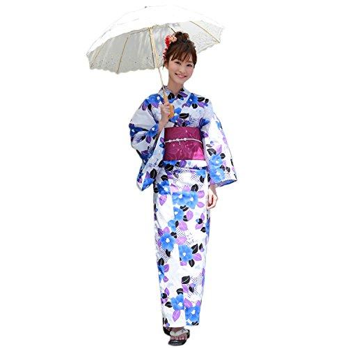 エトナ山何か羊の服を着た狼浴衣 レディース セット 白地に青の椿と紫の葉 高級変わり織り浴衣3点セット 椿
