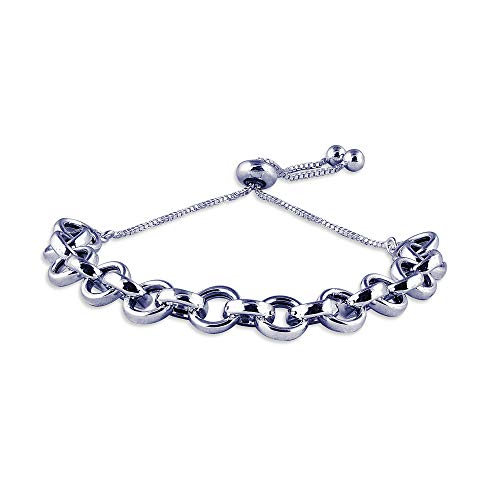 Charmsy Sterling Silver Jewelry Light Weight Hollow Rolo Link Chain Sliding Bolo Bracelet for Women