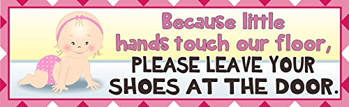 Take Off Your Shoes Baby Sign in Pink with Crawling Girl in Polka Dot Diaper & Gingham Border – Fun Sign Factory Original Nursery Décor