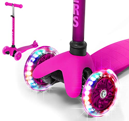 (Rugged Racers Pink Kick Scooter for Boys & Girls 3 Wheel Scooter, Kick Scooter for Kids with LED Light PU Wheels, Step Brake, Lean 2 Turn, Ride on Toys for Children 3 Year Plus)