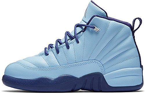 Jordan Air Retro 12 GP Girls Preschool Basketball Shoes Blue/Metallic Silver 510816-418 (2.5 M US)