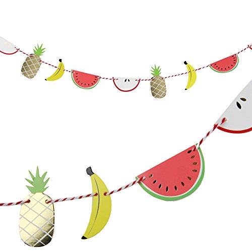 SUNBEAUTY 2m Colorful Paper Fruit Banner Luau Tiki Party Supplies Summer Party Decoration