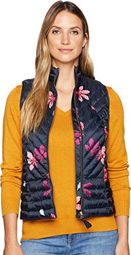 - Joules Women's Brindly Printed Chevron Quilted Vest Marine Navy Chestnut Leaves 16