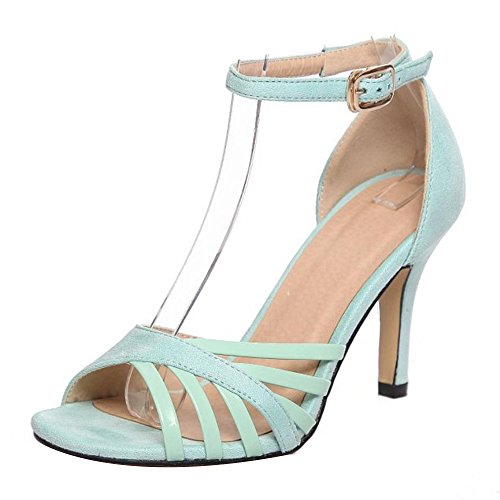 TAOFFEN Mujer Moda Peep Toe Sandalias Tacon De Aguja Al Tobillo Fiesta Zapatos Verde