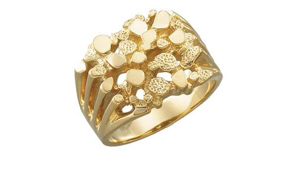 Size 11 Mens 10k Yellow Gold Nugget Design Ring