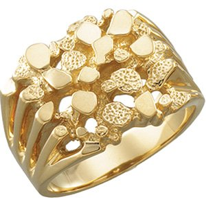 Mens 10k Yellow Gold Nugget RingAmazoncom