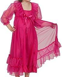 Laura Dare Little Girls Fuchsia Frilly Peignoir Nightgown w Scrunchie, 6