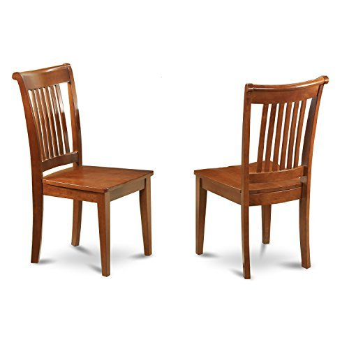 Pressed Chair Back (East West Furniture POC-SBR-W Slat Back Dining Room Chair Set with Wood Seat, Set of 2)