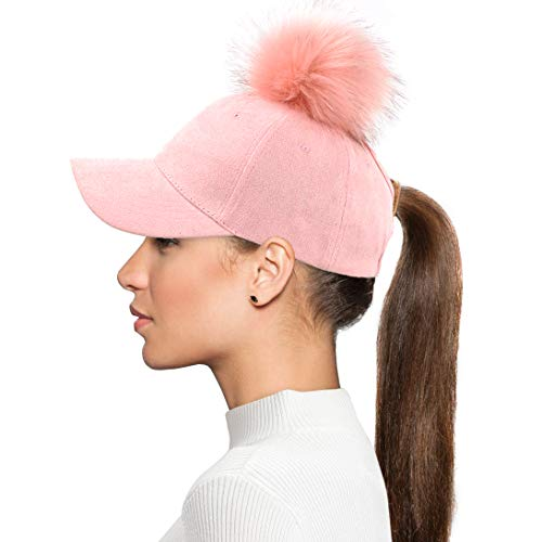 (Womens Ponytail Baseball Hat Removable Snap On Off Faux Fur Faux Suede Baseball Adjustable Cap Pink )