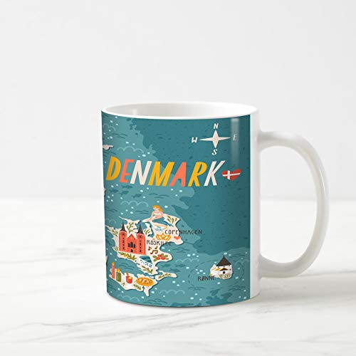 Ahawoso Coffee Tea Mug 11 Ounces Voyage Copenhagen Map Denmark Travel Flat City Doodle Vintage Candle Lighthouse 11Oz Ceramic Tea Cups Gift Great Boss Coworker Friend Present