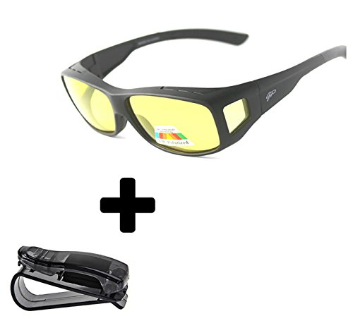 Price comparison product image Fit Over Night Vision Glasses Polarized to Wear Over Glasses + car clip holder