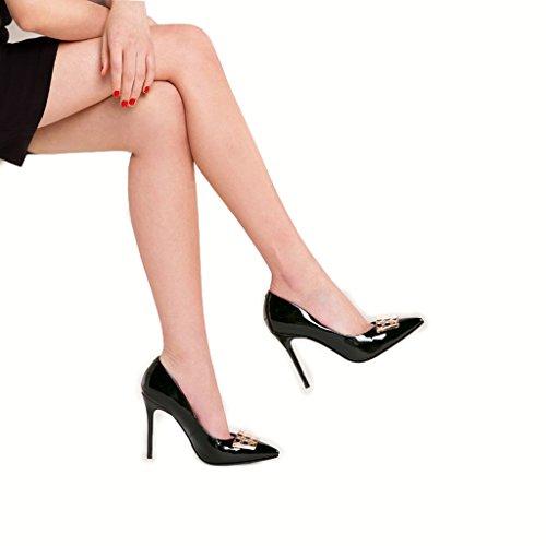 10 5 Zapatos Mujer Tacones con Tacón Zapatos de Laterales times Alto de Finos Hebillas con DE de bajo Negro Hyun Tacón cm Yq05c