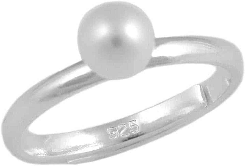 Size 3 To 7 Sterling Silver 5mm White Or Pale Pink Cultured Pearl Girls Ring