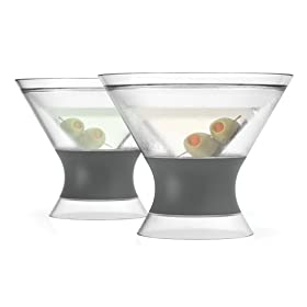 Host 3310 Freeze Stemless Martini, Insulated Plastic Cocktail Tumbler, Set of 2 Glasses, 9 oz