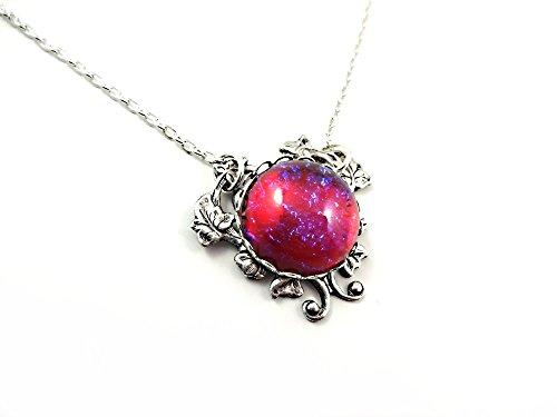 Little Gem Girl Mexican Opal Necklace Dragons Breath Pendant Silver Victorian Fire Opal Heart Charm