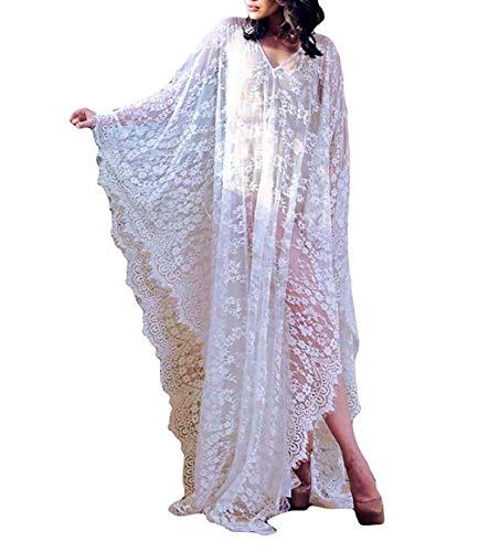 (MeiLing Women's Lace Kaftan Long Beach Dress Caftan Loungewear Bathing Suit Bikini Swimsuit Cover Up Swimwear (White A.))