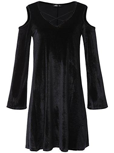 Designer Olive Velvet (JayJay Women Flower Print Velvet Off Shoulder Bell Sleeve Caged Neck Shirt Tunic Dress,Solid/Black,L)