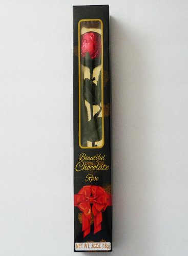Single Long-Stemmed Milk Chocolate Candy Rose 0.63 oz (Custom Chocolate Wrapped)