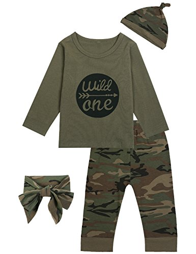 Truly One Baby Boys' Outfit Long Set 2PCS Camouflage Letter Print Shirt With Pants (12-18 Months) ($100 Gift Ideas)