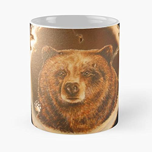 Bear On Agate Disc Painted - Coffee Mugs Unique Ceramic Novelty Cup Best Gift