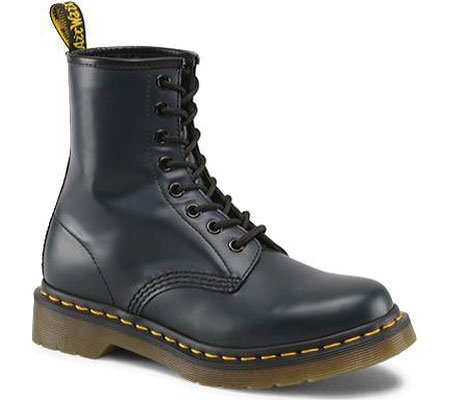 Dr. Marten's Women's 1460 8-Eye Navy Smooth Leather Patent Leather Boots - 4 F(M) UK / 6 B(M) US Women / 5 D(M) US Men (Dr Martens 4 Eye)