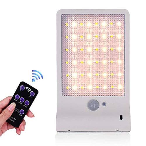Lámpara Solar 48 Leds Exterior Pared Jardin Sensor Movimiento (Blanco)