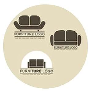 alfombrilla de ratón logotipo de muebles sofá para su negocio. Conjunto de elementos de diseño vectorial - ronda - 20cm