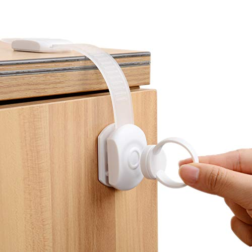 Universal Fridge - Baby Safety Locks | Child Proof Cabinets,Drawers, Appliances, Toilet Seat, Fridge and Oven|Tools Not Required |Super Strong 3M Adhesive Cabinet Lock