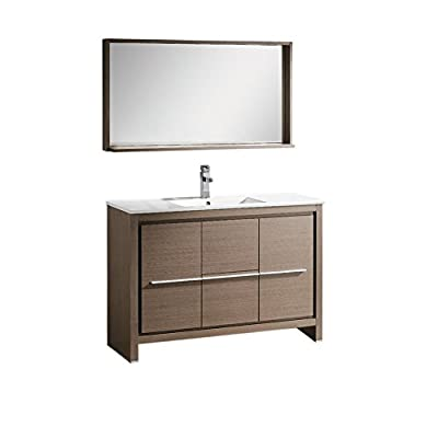 "Fresca Bath FVN8148GO Allier 48"" Vanity with Mirror, Gray Oak - Dimensions of Vanity: 47.25""W x 18""D x 33.5""H Dimensions of Mirror: 47.25""W x 25.5""H x 6""D Materials: Plywood with Veneer, Ceramic Countertop/Sink with Overflow - bathroom-vanities, bathroom-fixtures-hardware, bathroom - 41xnUhIzzfL. SS400  -"