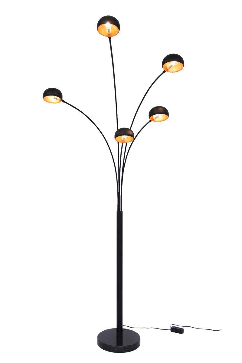 Große Five Fingers Bogenlampe, Top Quality, mattschwarz & Kupfer, 225cm hoch