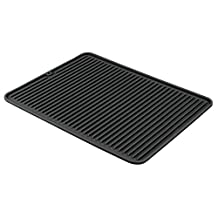 InterDesign Lineo Silicone Kitchen Counter Top Dish Drying Mat - Large, Black