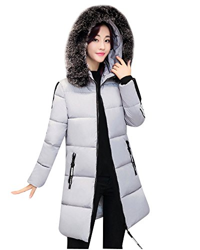 Women's Long Down Puffer Jacket Big-Collar Thicker Overcoat Trench Coat Grey