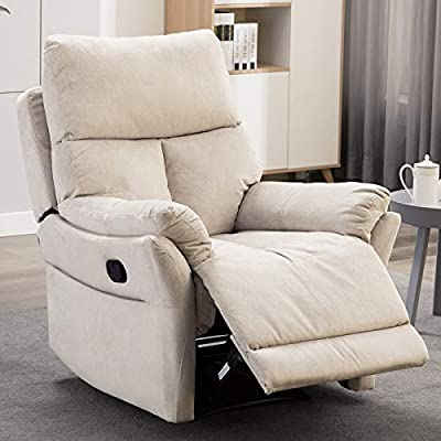 ANJ Manual Recliner, Living Room Reclining Chair Soft with Overstuffed Armrest and Back