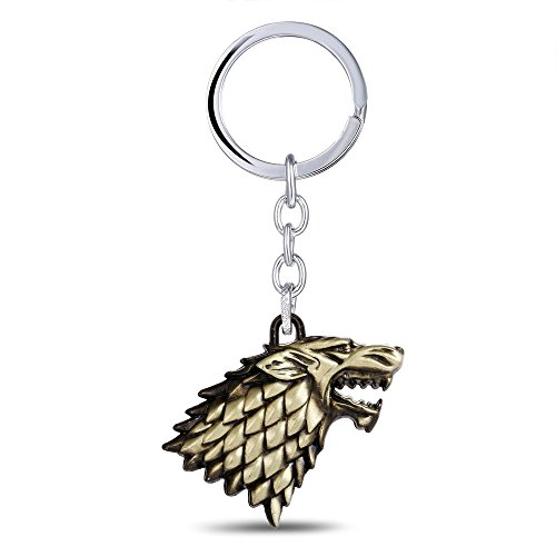 OK-STORE Dire Wolf Logo Sigil Keychain Direwolf Mark Key Chain Winter Is Coming Zinc Alloy Key Ring Family Tag House Badge Totem for Collectors and Fans