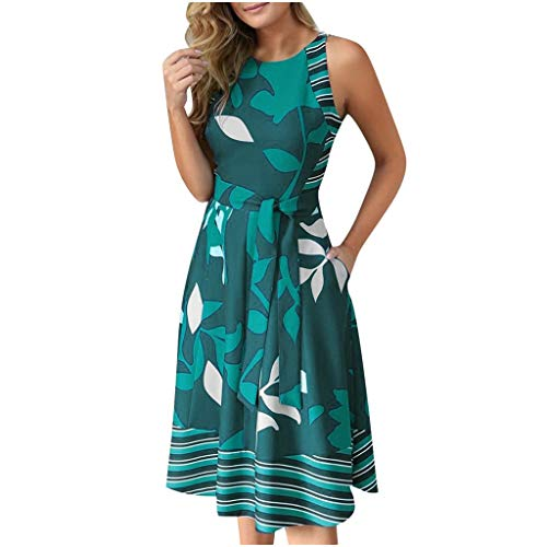 SoeHir Women Casual Dresses Round Neck Sleeveless Leaf Print Splice Big Swing Dress with Belt Green