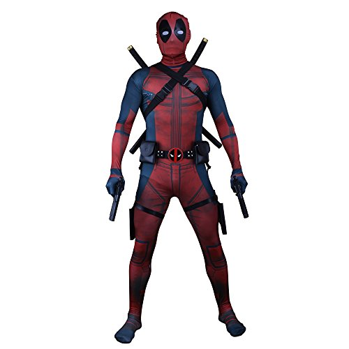 Wolfbar Spandex Lycra Bodysuit Tights Zentai Full Set Halloween Cosplay Costume L -