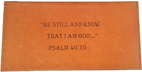 Men's Women's Christian BE STILL KNOW I'M GOD Brown Tan Black GENUINE LEATHER Checkbook Cover Wallet