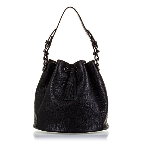 Firenze Dollaro De Woman Artegiani Negro Black Black Color Piel bolso Piel Color Woman Negro Genuine Cuero Cm Vera Cierre 25x25x25 Mujer Acabado Cm Con 25x25x25 Shoulder Pelle Italian Skin Italiana Vera Italy Pelle Genuino Leather bolso Artegiani In Made Firenze Dollaro Italy De bolso In Auténtica bolso Skin Closure Made Drawstring Leather Auténtica Hombro Piel Finish De Mujer Cordón 0ZFwRpq