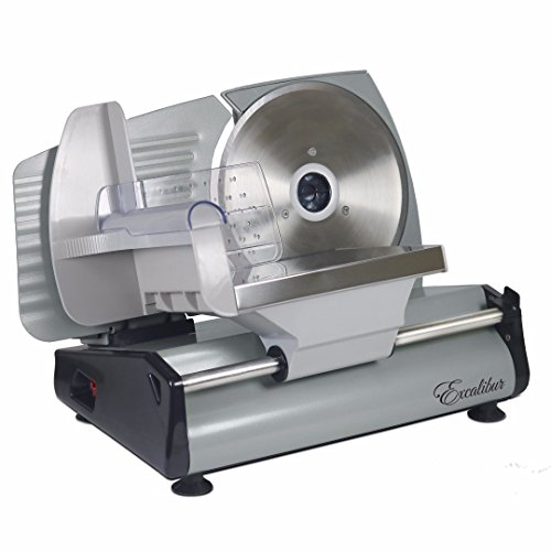 (Excalibur EHS75 Do It Yourself Electric Food and Meat Slicer Features Precision Thickness Control and Tilted Carriage for Fast and Efficient Slicing with Removable Blade for Easy Clean, 7.5-Inch, Gray)