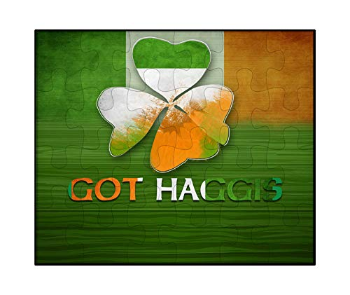 (Makoroni - GOT Haggis Ireland Flag - Irish Shamrocks St Patric Leaf Clovers Design - Jigsaw Puzzle, 30 pcs.)