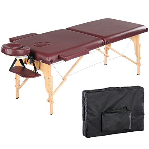 Artechworks 84″ Portable Folding Massage Table Facial Solon Spa Tattoo Bed with Armrest Shelf and Cradle Cover, Burgundy