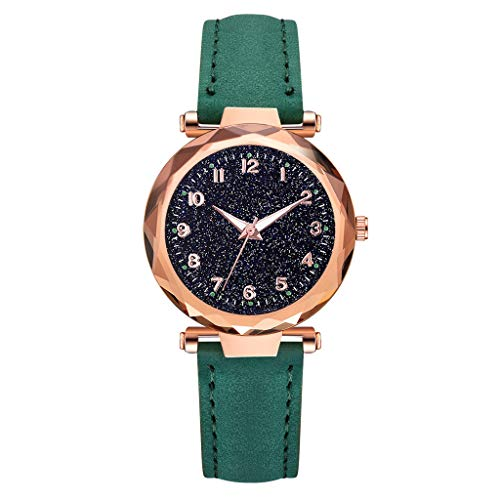 - LUCAMORE Womens Luxury Analog Luminous Watches Quartz Wristwatch Starry Sky Dial With Leather Strap Casual Watch Jewelry Gift