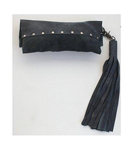 Gray Leather Tassel Clutch Handbag Text Print