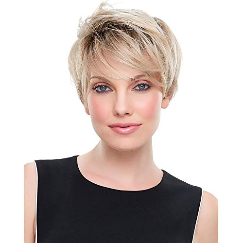 MEILEDA Short Blonde Wigs for Women Brown Ombre Blonde Wig Straight Synthetic Hair Natural Costume Daily Replacement Wigs with Wig Cap (Brown Ombre Blonde) MLD038