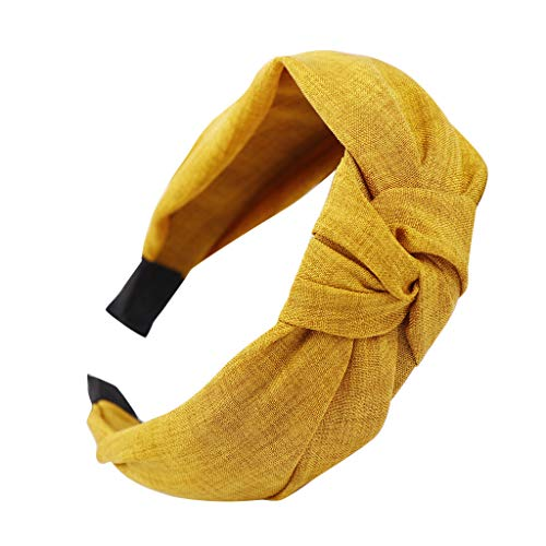 Headbands,Fashion Bow Knot Hairband Hoop Sweet Girls Hair Accessories for Women (Yellow)