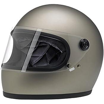 Biltwell Unisex-Adult Full-Face-Helmet-Style Flat Gringo S DOT Certified Full-Face Helmet (Titanium, Large)