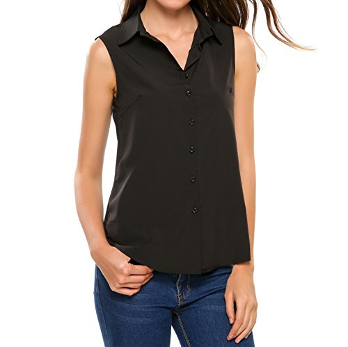 Soteer Women's Sleeveless Button Down Shirt Tops Solid Casual Loose Blouse - Black/S-XXL (Solid Shirt Sleeveless)